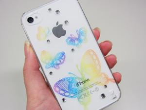 女子力アップなスワロフスキー付iPhone4&4S用ケースiDressバックカバー「蝶レインボー」待ち受け画面とコーディネート
