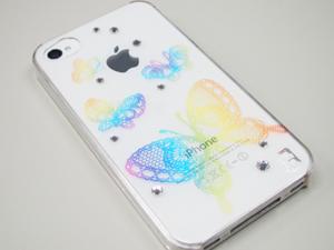 女子力アップなスワロ付iPhone4&4S用ケースiDressバックカバー「蝶レインボー」