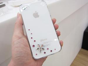 白iPhone4に合わせたいスワロフスキー付ケースBling My Thing Flower Pink Mix